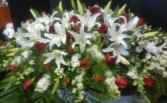 Red and White Casket Spray wWth White lilies Sympathy Tribute