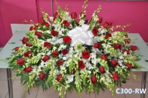 Red and White Casket  in Mount Vernon, NY | MOUNT VERNON FLORIST