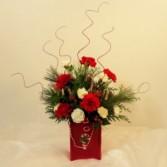 Red and White Christmas Cheer Vase Christmas