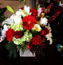 Red and white cube vase arrangement