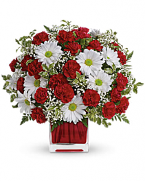 RED AND WHITE DELIGHT CUBE CENTERPIECE