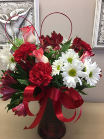 Red and White Delight Floral arrangement