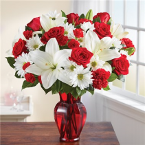 Red and White Delight for 2018 roses and lilies and dasies in vase