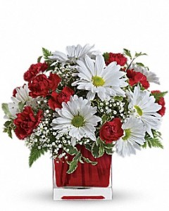 Red and White Delight Red Square Bouquet