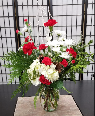Red and White Christmas  Delight  1 Sided Bouquet