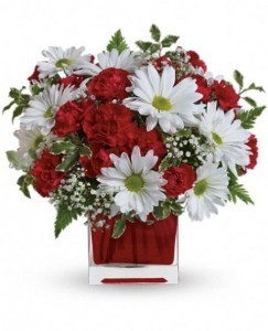 Red and White Delight Teleflora Design in Springfield, IL | FLOWERS BY MARY LOU INC