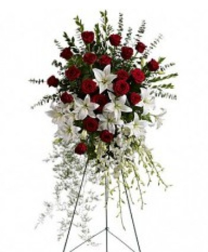 Red and White Elegance Spray Easel Spray