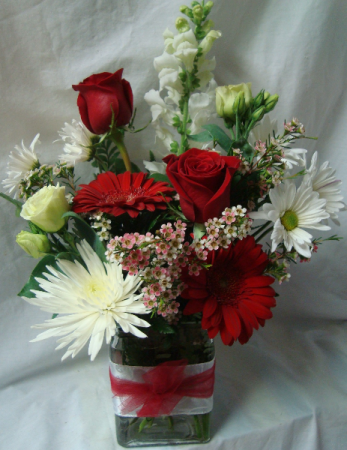 Red and White Flowers in a cute ribbon detailed  cube vase.