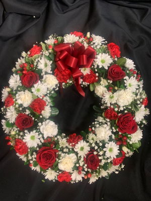 Red and White Fresh Sympathy Wreath in Red Lake, ON | FOREVER GREEN GIFT BOUTIQUE