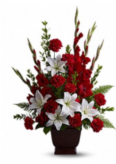 Red and white funeral arrangement  Funeral arrangement