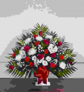 RED AND WHITE FUNERAL FLOOR BASKET