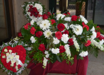 red and white hearts and casket piece