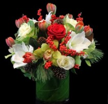 Red and White Holiday Cheer Vase Arrangement