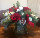 Red and white Holiday vase arrangement