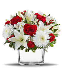 Red and White Love Cube Vase