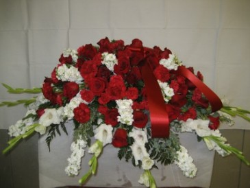 Red and White mix Casket Spray Casket Spray