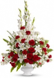 FA 10-Red and white mixed flower arrangement Also available in other colors