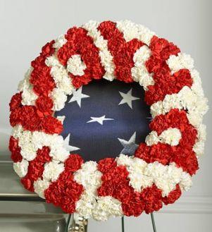Red and White Patriotic  Memorial Wreath
