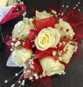 Red and White Prom Corsage