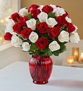 Red and White Rose Arrangement