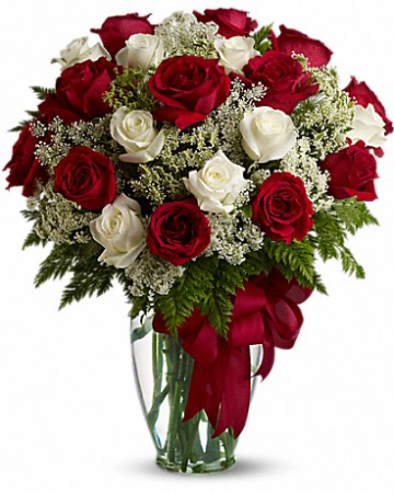 Red and White Rose Arrangement Rose Arrangement