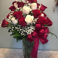 Red and White Rose Arrangment