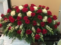 Red and White Rose Casket Spray Sympathy