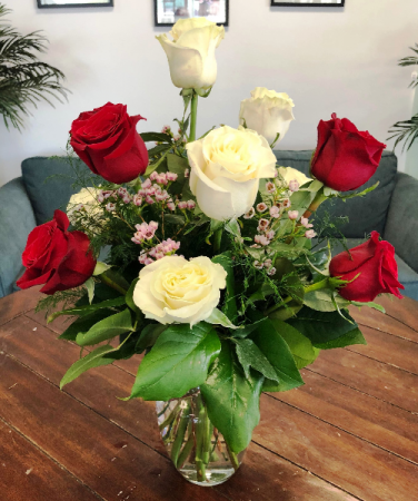 Red and White Rose Mix Arrangement