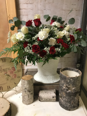 Red and white rose sympathy arrangement  with euc arrangement in Wilkes Barre, PA | Kelly Ann's Floral