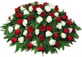 Red and White Roses Casket Spray
