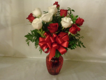 Red and White Roses Vase Arrangement