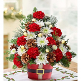 Red and White Santa  Arrangement