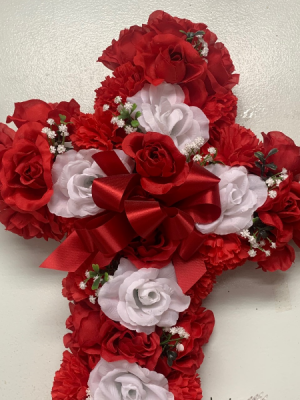 Red and White Silk Sympathy Cross in Red Lake, ON | FOREVER GREEN GIFT BOUTIQUE