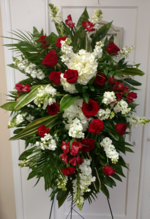 Red and White Spray Funeral Spray