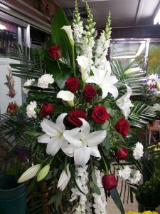 Red and White Radiance Standing Spray in Albany, NY | CENTRAL FLORIST