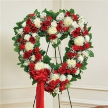 Red and White Standing Heart Funeral Flowers