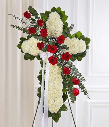 Red and White Standing Heart Sympathy Arrangement