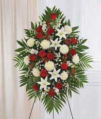 RED AND WHITE STANDING SPRAY 3 WAS $199.00/NOW $165.00