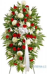 Red and White Standing Spray Funeral Spray