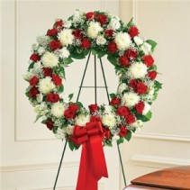 Red and White Standing Wreath Funeral Flowers