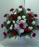 red and white sympathy Arrangement