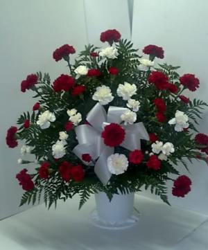 red and white sympathy Arrangement in Lebanon, NH | LEBANON GARDEN OF EDEN FLORAL SHOP