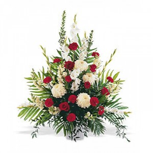 Red and White Sympathy Arrangement Funeral Tribute Spray in North Bay, ON | ROSE BOWL FLORIST