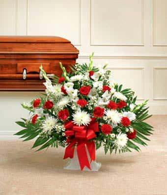 Red and White Sympathy Floor Basket sympathy basket