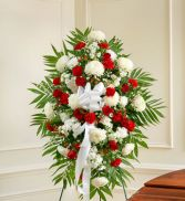 Red and White Sympathy Standing Spray