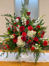Red and White Sympathy Urn Powell Florist Featured Arrangement