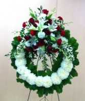 Red and White Traditional Wreath Premium Classic Funeral Flowers