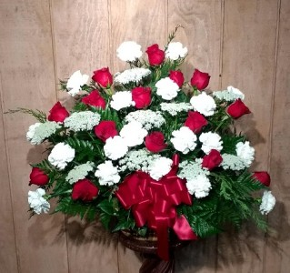 Red And White Tribute Arrangement