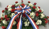 Red and white tribute spray - full couch casket spray