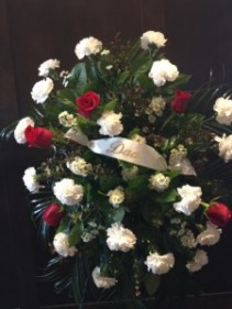 Red and White Tribute  Sympathy Spray